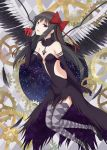 1girl akemi_homura akuma_homura apple argyle argyle_legwear bangs bare_shoulders black_choker black_dress black_footwear black_gloves black_hair bow breasts choker commentary darknessukaru dress elbow_gloves feathered_wings flats floating food fruit gears gloves grey_legwear hair_bow hair_ribbon half-closed_eyes highres holding holding_food holding_fruit long_dress long_hair looking_at_viewer mahou_shoujo_madoka_magica parted_lips red_bow red_ribbon ribbon side_cutout small_breasts smile solo space standing star_(sky) strapless strapless_dress thigh-highs violet_eyes wings