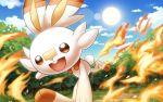 bunny_focus commentary_request creature graphite_(medium) hakuginnosora looking_at_viewer no_humans pokemon pokemon_(creature) rabbit solo starter_pokemon traditional_media