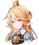 1girl bangs blonde_hair blue_eyes blush breastplate charlotta_fenia closed_mouth cropped_torso crown eyebrows_visible_through_hair granblue_fantasy hair_between_eyes harvin light_smile long_hair meito_(maze) mini_crown pointy_ears puffy_short_sleeves puffy_sleeves short_sleeves simple_background solo upper_body white_background