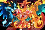 blue_eyes charizard charmander charmeleon chu_(hyenafu) claws commentary creature dated dragon english_commentary fangs fiery_tail fire flame flying gen_1_pokemon gigantamax_charizard horn horns looking_at_viewer mega_charizard_x mega_charizard_y mega_pokemon no_humans pokemon pokemon_(creature) signature tail