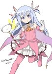 1girl :o ascot bangs bare_shoulders blue_eyes boots cape cosplay dated eyebrows_visible_through_hair fate/kaleid_liner_prisma_illya fate_(series) feathers gloves gochuumon_wa_usagi_desu_ka? hair_between_eyes hair_feathers hair_ornament highres kafuu_chino light_blue_hair long_hair looking_at_viewer magical_girl pink_footwear prisma_illya prisma_illya_(cosplay) simple_background sleepyowl_(jobkung15) solo thigh-highs thigh_boots tippy_(gochiusa) twitter_username two_side_up wand white_background white_gloves x_hair_ornament yellow_neckwear