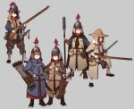 5girls armor arrow black_hair blue_eyes bow_(weapon) brown_hair cape chinese_armor commentary fangdan_runiu full_armor grey_background gun hair_between_eyes hair_over_one_eye hat helmet holding holding_gun holding_weapon looking_at_viewer multiple_girls original quiver sheath sheathed simple_background smile sword violet_eyes weapon