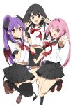 3girls :d ;d bangs black_hair black_legwear black_sailor_collar black_skirt blush breasts brown_eyes brown_footwear chijou_noko chikanoko closed_mouth commentary_request demon_girl demon_horns demon_tail demon_wings double_v eyebrows_visible_through_hair hair_between_eyes hair_intakes hands_up high_ponytail highres horns kneehighs loafers long_hair looking_at_viewer medium_breasts multiple_girls naito_mare one_eye_closed open_mouth outstretched_arm pink_hair pleated_skirt ponytail purple_hair ragho_no_erika red_eyes red_neckwear red_wings sailor_collar school_uniform serafuku shirt shoes short_sleeves simple_background skirt smile tail thigh-highs tsugou_makina twintails v very_long_hair white_background white_shirt wings