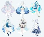 6+girls absurdres agonasubi ahoge aqua_eyes arms_behind_back bass_clef beamed_eighth_notes beret bloomers blue_bow blue_capelet blue_dress blue_eyes blue_gloves blue_hair blue_headwear blue_mittens blue_ribbon blue_skirt blush bow bowtie bracelet branch capelet chimes christmas_ornaments commentary contrapposto detached_sleeves dress earmuffs eighth_note frilled_dress frills from_side full_body fur-trimmed_capelet fur-trimmed_dress fur-trimmed_footwear fur_trim gloves gradient_hair hair_bow hair_ornament hair_ribbon hands_up hat hatsune_miku head_tilt heart_ahoge highres holding holding_instrument holding_wand instrument jewelry kneehighs leaning_forward light_blue_hair long_hair looking_at_viewer mittens multicolored_hair multiple_girls multiple_persona musical_note musical_note_print pantyhose pastel_colors pleated_skirt ribbon ruffled_dress skirt sleeveless sleeveless_dress smile snowflake_print staff_(music) star star_hair_ornament star_wand striped striped_legwear striped_neckwear thigh-highs treble_clef twintails underwear very_long_hair vocaloid wand white_beret white_capelet white_dress white_gloves white_hair white_headwear white_sleeves yuki_miku