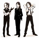 3girls :  adjusting_clothes adjusting_gloves aqua_eyes arms_behind_head bangs black_footwear black_gloves black_hair black_jacket black_neckwear black_pants black_vest character_request closed_mouth collared_shirt formal frown full_body gloves hair_over_shoulder hands_in_pockets highres jacket long_hair long_sleeves multiple_girls necktie no_bangs pants ponytail red_eyes scrunchie shin9tani shirt shoes short_hair shoujo_kageki_revue_starlight sidelocks sleeves_pushed_up standing suit vest white_background white_scrunchie white_shirt yellow_eyes