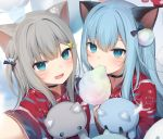 2girls :d amashiro_natsuki animal_ear_fluff animal_ears bangs black_choker blue_eyes blue_hair blush cat_ears cat_hair_ornament choker collarbone commentary cotton_candy eating eyebrows_behind_hair fang food grey_hair hair_between_eyes hair_ornament hairclip highres holding holding_food japanese_clothes kimono long_hair long_sleeves looking_at_viewer multiple_girls nacho_(amashiro_natsuki) nekoha_shizuku object_hug one_side_up open_mouth original paw_print print_kimono reaching_out red_kimono romaji_commentary self_shot smile stuffed_animal stuffed_cat stuffed_toy upper_body whisker_markings wide_sleeves