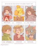 1boy 5girls absurdres animal_ears bangs blank_eyes blonde_hair blue_eyes blue_flower blue_hair boar_mask braid brown_hair chilling_adventures_of_sabrina crown_of_thorns doubutsu_no_mori eating english_text flower food frogaggressive glasses green_eyes grey_eyes hair_between_eyes hashibira_inosuke highres homestuck jade_harley kimetsu_no_yaiba long_hair madotsuki meat multiple_girls one_eye_closed open_mouth persona persona_4 sabrina_spellman satonaka_chie shizue_(doubutsu_no_mori) short_hair six_fanarts_challenge smile twin_braids twintails upper_body yellow_eyes yellow_flower yume_nikki