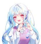 1girl :d bangs blue_hair blush collared_shirt eyebrows_visible_through_hair heart heart_hands highres long_hair long_sleeves looking_at_viewer naru_0 open_mouth original pink_eyes puffy_long_sleeves puffy_sleeves purple_vest school_uniform shirt sidelocks simple_background sleeve_cuffs smile solo sweater_vest twintails upper_body vest white_background white_shirt