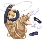 1girl arms_up barefoot black_footwear blonde_hair breasts clenched_teeth eyebrows_visible_through_hair full_body kurodani_yamame long_sleeves looking_at_viewer medium_breasts ootsuki_wataru shoes shoes_removed short_hair smile socks solo teeth touhou transparent_background yellow_eyes