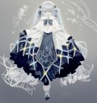 1girl bass_clef black_gloves blue_ribbon borrowed_design braid braided_bangs capelet commentary dress full_body fur-trimmed_capelet fur-trimmed_footwear fur_trim gloves hair_ribbon hatsune_miku highres light_blue_eyes light_blue_hair light_smile looking_at_viewer ribbon skirt_hold snowflake_print solo standing treble_clef vocaloid white_capelet white_dress white_headwear yamiluna39 yuki_miku