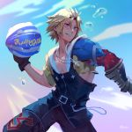 1boy armor ball bare_chest belt belt_buckle black_gloves blonde_hair blue_eyes bubble buckle chain final_fantasy final_fantasy_x gloves hair_between_eyes holding holding_ball hood hood_down jewelry jiro_(ninetysix) male_focus necklace parted_lips pauldrons signature smile solo teeth tidus vambraces water zipper