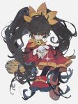 1girl ashley_(warioware) big_hair black_hair boots broom daruma_owl dress hairband highres holding holding_stuffed_animal looking_at_viewer orange_hairband orange_neckwear red_dress red_eyes sailor_collar skull solo stuffed_animal stuffed_bunny stuffed_toy thigh-highs twintails warioware witch yellow_sailor_collar