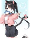 1girl animal_ear_fluff animal_ears bangs bell black_hair black_legwear black_skirt blue_eyes blush bow breasts cat_ears cat_girl cat_tail commentary eyebrows_visible_through_hair hair_ornament hairclip highres jacket jingle_bell long_hair long_sleeves mouth_hold open_clothes open_jacket original outstretched_arm pink_bow pink_jacket pleated_skirt puffy_long_sleeves puffy_sleeves rang_ji7 shirt shoes skirt sleeves_past_wrists small_breasts socks solo standing standing_on_one_leg stuffed_animal stuffed_toy stuffed_whale tail tail_bell tail_bow twintails uwabaki v very_long_hair white_footwear white_shirt x_hair_ornament