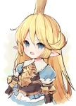 1girl :d blonde_hair blue_dress blue_eyes blush charlotta_fenia crown dress granblue_fantasy harvin long_hair looking_at_viewer meito_(maze) mini_crown open_mouth pointy_ears puffy_short_sleeves puffy_sleeves short_sleeves sidelocks smile solo very_long_hair white_background