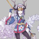antler_ornament aterui_(eiyuu_senki) blue_eyes blue_hair eiyuu_senki eiyuu_senki_ww fur_collar jewelry nike_(smaaaash) oni_horns polearm spear weapon