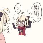 2girls ahoge black_bow black_gloves blonde_hair blush bow breasts commentary_request dark_skin dual_persona eighth_note elbow_gloves fate/grand_order fate_(series) gloves hair_bow looking_at_another multiple_girls musical_note numachi_doromaru okita_souji_(alter)_(fate) okita_souji_(fate) okita_souji_(fate)_(all) smile translation_request under_boob upper_body