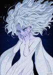 1girl black_background blue_eyes cowboy_shot dress elsa_(frozen) floating_hair frozen_(disney) frozen_ii_(disney) long_hair long_sleeves outsuki purple_skin signature simple_background snowflakes solo white_dress white_hair