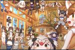 6+girls closed_eyes common_raccoon_(kemono_friends) day dhole_(kemono_friends) facing_another fennec_(kemono_friends) fisheye floating highres indoors kemono_friends kemono_friends_3 looking_at_another looking_at_viewer multicolored_hair multiple_girls ostrich_(kemono_friends) plains_zebra_(kemono_friends) rakugakiraid sitting small-clawed_otter_(kemono_friends) standing window