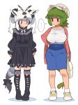 ... 2girls alternate_costume animal_ears antenna_hair arabian_oryx_(kemono_friends) arm_at_side arms_at_sides aurochs_(kemono_friends) bag bangs black_dress black_eyes black_hair breasts buttons cardigan casual closed_mouth collarbone contemporary cow_ears cow_horns cow_tail dress empty_eyes full_body green_hair grey_eyes hair_between_eyes hair_ornament hair_scrunchie hand_on_hip hat highres horns kazue1000 kemono_friends kneehighs long_hair long_sleeves looking_at_another looking_to_the_side medium_hair medium_skirt multicolored_hair multiple_girls neck_ribbon open_cardigan open_clothes oryx_ears oryx_tail pencil_skirt ponytail ribbon scrunchie shirt shoes short_ponytail side-by-side sidelocks simple_background skirt socks standing tail twintails two-tone_hair white_background white_hair