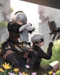 1boy 1girl android black_blindfold black_gloves black_hairband black_legwear black_shorts blindfold blurry blurry_background building cleavage_cutout closed_eyes closed_mouth feather_trim floating flower gloves hair_between_eyes hairband highres jiro_(ninetysix) leaning leaning_forward nier_(series) nier_automata pink_flower plant pod_(nier_automata) puffy_sleeves robot ruins see-through short_hair shorts sitting smile thigh-highs white_hair yellow_flower yorha_no._2_type_b yorha_no._9_type_s