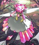 commentary creature diancie english_commentary flower full_body gen_6_pokemon mega_diancie mega_pokemon no_humans pink_eyes pinkgermy pokemon pokemon_(creature) solo tree