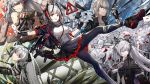 1boy 4girls animal_ears antenna_hair aqua_eyes arknights bare_shoulders black_footwear black_gloves black_jacket black_legwear black_skirt breasts brown_eyes detached_sleeves detonator executor_(arknights) fingerless_gloves frilled_skirt frills gloves grenade_launcher grin gun high_collar highres horns jacket lappland_(arknights) large_breasts long_hair looking_at_viewer miniskirt multiple_girls nail_polish open_clothes open_jacket outstretched_arm pantyhose red_eyes red_nails rifle rock saria_(arknights) shirt shoes short_hair sign skirt smile statue strap w_(arknights) warning_sign weapon weedy_(arknights) white_shirt wings wolf_ears yuuki_mix