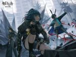 3girls amiya_(arknights) animal_ears arknights ascot bag bangs belt black_gloves black_hair black_jacket black_legwear blue_eyes blue_hair brown_eyes cat_ears city day dobermann_(arknights) dog_ears dutch_angle eyebrows_visible_through_hair frilled_ascot frills gloves green_eyes gun hair_between_eyes handgun highres holding holding_gun holding_weapon hood hood_down hooded_jacket id_card jacket jessica_(arknights) jun_(5455454541) knee_pads long_hair long_sleeves looking_at_viewer looking_back midriff mole mole_under_eye multiple_girls multiple_rings one_knee open_clothes open_jacket pantyhose parted_bangs ponytail rabbit_ears shorts sidelocks thighlet thumb_ring trigger_discipline weapon whip