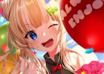 1girl balloon bangs bare_shoulders blonde_hair blue_eyes blunt_bangs blush commentary_request earrings face fang festival haiba_09 hair_bun hair_ornament hairclip jewelry looking_at_viewer one_eye_closed original smile solo