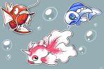 aquazeem bubble commentary creature english_commentary fish fish_focus full_body gen_1_pokemon gen_7_pokemon goldeen grey_background horn magikarp no_humans pokemon pokemon_(creature) simple_background wishiwashi wishiwashi_(solo)