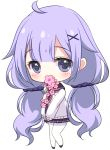 1girl ahoge azur_lane bangs blush cardigan cherry_blossoms chibi commentary_request eyebrows_visible_through_hair flower_in_mouth full_body hair_ornament hair_scrunchie long_hair long_sleeves looking_at_viewer low_twintails neckerchief pantyhose pink_neckwear pleated_skirt purple_hair purple_sailor_collar purple_scrunchie purple_skirt sailor_collar school_uniform scrunchie sidelocks simple_background skirt solo standing sukireto twintails unicorn_(amusement_park_date)_(azur_lane) unicorn_(azur_lane) very_long_hair violet_eyes white_background white_cardigan white_legwear x_hair_ornament