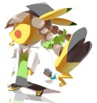 braid brown_hair clothed_pokemon commentary_request cosplay_pikachu creature full_body gen_1_pokemon hatted_pokemon highres jaibus no_humans pencil pikachu pikachu_phd pocket pokemon pokemon_(creature) simple_background solo twin_braids white_background
