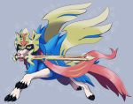 abbystabby claws commentary creature dog dog_focus english_commentary fangs full_body gen_8_pokemon grey_background mouth_hold no_humans pokemon pokemon_(creature) simple_background solo star starry_background sword weapon yellow_eyes zacian zacian_(crowned)