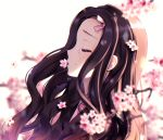 1girl bangs black_hair blurry blurry_background blurry_foreground cherry_blossoms closed_eyes commentary crying depth_of_field flower hair_ribbon japanese_clothes kamado_nezuko kimetsu_no_yaiba kimono long_hair natsumii_chan open_clothes parted_bangs pink_flower pink_kimono pink_ribbon profile ribbon solo tears tree_branch upper_body white_background