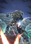 aircraft airplane clenched_hand clouds firing flying gasaraki glowing glowing_eyes gun highres joints mecha no_humans raiden_(gasaraki) robot_joints sakusakusakurai weapon wire