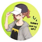 1girl baseball_cap black_shirt brown_eyes brown_hair casual circle commentary_request dated electricity green_background grey_jacket happy_birthday hat highres hood hooded_jacket hoodie jacket misaka_mikoto ponytail raruro0719 shirt short_hair solo to_aru_kagaku_no_railgun to_aru_majutsu_no_index upper_body