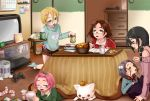 2boys 3girls :3 :d anal_(arinosumuki) bangs_pinned_back bare_shoulders black_eyes black_skirt blonde_hair blue_eyes blue_sweater bow brown_hair calendar_(object) character_request closed_eyes crossdressing cup dog drawer fang feeding food fruit fur_collar game_console glasses green_sweater grey_hair hair_between_eyes hair_bow hair_ornament hair_pom_pom hairclip heater highres indoors jacket jiishiki_kajou_(ukagaka) kneeling kotatsu long_hair long_sleeves looking_at_another low_twintails lying mandarin_orange miniskirt multiple_boys multiple_girls notebook on_floor on_stomach open_mouth original otoko_no_ko pen phone pink_hair playstation_2 pom_pom_(clothes) reading red_jacket ribbed_sweater short_hair short_shorts shorts sitting skirt sliding_doors smile socks sweatdrop sweater table tea teapot television track_jacket tray twintails ukagaka under_kotatsu under_table used_tissue yellow_eyes yume_nikki_(ukagaka) yunomi