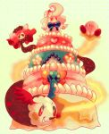 alcremie cake charlotte_(madoka_magica) commentary creature elikapika english_commentary food gen_8_pokemon gigantamax gigantamax_alcremie highres kirby kirby_(series) mahou_shoujo_madoka_magica no_humans pokemon pokemon_(creature) ribbon striped striped_ribbon