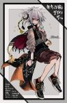 1girl absurdres azsn10 bangs black_footwear brown_shorts cape double_bun expressionless full_body green_eyes grey_background grey_hair highres long_sleeves original shoes short_hair shorts solo star twitter_username