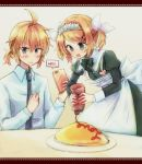 1boy 1girl apron black_dress blonde_hair blue_eyes blush bottle bow cellphone collar commentary dress dress_shirt food food_writing frilled_collar frills haine_koko hair_bow hair_ornament hairclip hand_on_own_chest heart holding holding_bottle holding_phone kagamine_len kagamine_rin ketchup_bottle leaning_forward maid maid_apron maid_dress maid_headdress necktie omurice open_mouth phone plate recording shirt short_hair short_ponytail smartphone smile spiky_hair squeezing standing twintails upper_body v-shaped_eyebrows vocaloid white_bow white_shirt