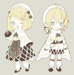 1boy 1girl bangs bass_clef beige_background beret black_gloves blonde_hair blue_eyes boots borrowed_design braid capelet chibi commentary dress eighth_note full_body fur-trimmed_boots fur-trimmed_capelet fur_trim gloves hair_ornament hairclip hand_up hat highres kagamine_len kagamine_rin musical_note musical_note_hair_ornament one_eye_closed open_mouth shirt short_hair short_ponytail shorts smile snowflake_print spiky_hair standing swept_bangs treble_clef vocaloid waving white_beret white_capelet white_dress white_headwear white_shirt white_shorts yamiluna39 yuki_len yuki_rin