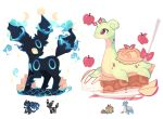 apple appletun charamells charizard commentary creature crescent english_commentary food fruit full_body fusion gen_1_pokemon gen_2_pokemon gen_8_pokemon highres horn lapras mega_charizard_x mega_pokemon multiple_fusions no_humans pokemon pokemon_(creature) simple_background standing umbreon white_background