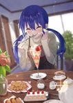 1girl black_dress blue_hair blurry blurry_background blush bread breasts closed_eyes closed_mouth commentary cookie cream cream_on_face cup dress eating eyebrows_visible_through_hair flower food food_on_face fork fruit hair_between_eyes hand_on_own_face indoors koisuru_asteroid long_hair long_sleeves manaka_ao medium_breasts mon0351 parfait plate rose sleeves_past_wrists smile solo spaghetti_strap sparkle spoon strawberry strawberry_shortcake sugar_cube sunlight sweets table teacup teapot turtleneck twintails vase window