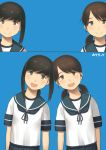 2girls bangs black_eyes black_hair blue_background blue_neckwear blue_sailor_collar blue_skirt brown_eyes brown_hair collared_shirt cowboy_shot fubuki_(kantai_collection) head_tilt hotaryuso kantai_collection leaning_to_the_side long_hair looking_at_viewer low_ponytail low_twintails multiple_girls neckerchief parted_bangs pleated_skirt ponytail sailor_collar school_uniform serafuku shirayuki_(kantai_collection) shirt short_hair short_ponytail short_twintails sidelocks skirt smile twintails upper_body