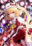 1girl :d ascot bangs blonde_hair blurry blurry_background bow collared_shirt crystal depth_of_field dutch_angle eyebrows_visible_through_hair flandre_scarlet frilled_shirt_collar frills hair_between_eyes hat hat_bow holding laevatein long_hair mob_cap nanase_nao one_side_up open_mouth pleated_skirt puffy_short_sleeves puffy_sleeves red_bow red_skirt red_vest shirt short_sleeves skirt skirt_set smile solo thigh-highs touhou very_long_hair vest violet_eyes white_headwear white_legwear white_shirt wings yellow_neckwear
