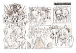 3girls animal_ears bow fighting hair_bow hair_bun hair_ornament highres holding_hands hololive monochrome mouse_ears multiple_girls murasaki_shion natsuiro_matsuri nosir_onadat ookami_mio open_mouth phone rabbit_ears scared shaded_face shouting speech_bubble tagme text_messaging translation_request