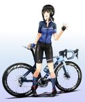 1girl alternate_costume bicycle bike_shorts black_eyes black_footwear black_hair black_shorts blue_shirt commentary_request fingerless_gloves fubuki_(kantai_collection) gloves grey_legwear ground_vehicle highres kantai_collection kazu_(really_in_hot_water_now) long_hair low_ponytail multicolored multicolored_clothes multicolored_gloves ponytail shirt short_ponytail shorts sidelocks socks solo standing waving