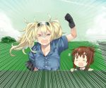 2girls absurdres aima_imoko0327 baseball black_gloves black_sailor_collar blonde_hair blue_shirt blue_sky breast_pocket breasts brown_eyes brown_hair closed_eyes clouds collared_shirt commentary_request day facing_viewer fence folded_ponytail gambier_bay_(kantai_collection) gloves hairband highres in_the_face inazuma_(kantai_collection) kantai_collection large_breasts long_hair multiple_girls open_mouth outdoors pocket round_teeth sailor_collar school_uniform serafuku shirt sky speed_lines stairs teeth twintails upper_body upper_teeth