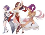 3girls absurdres armlet bernadetta_von_varley brown_eyes brown_hair dagger dancer dark_skin dorothea_arnault dress facial_mark fire_emblem fire_emblem:_three_houses from_side green_eyes grey_eyes highres holding holding_dagger holding_weapon inkanii long_hair looking_to_the_side multiple_girls open_mouth parted_lips petra_macneary ponytail purple_hair short_hair simple_background twitter_username weapon white_background