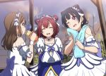 3girls ;d blush bottle brown_hair closed_eyes clouds collarbone double_bun drinking hair_ornament headband highres icehotmilktea kunikida_hanamaru kurosawa_ruby long_hair looking_at_another love_live! love_live!_sunshine!! multiple_girls one_eye_closed open_mouth short_hair sky smile towel towel_around_neck trio tsushima_yoshiko violet_eyes water_bottle yellow_eyes