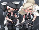 2girls aori_(splatoon) armband bangs belt black_belt black_gloves black_hair black_jacket black_pants blue_gloves breasts brown_eyes combat_knife cousins cowboy_shot domino_mask dual_wielding explosive fingerless_gloves gloves grenade grey_hair gun handgun highres holding holding_gun holding_knife holding_weapon jacket knife long_hair looking_at_viewer marie_(girls_und_panzer) mask medium_breasts medium_hair mole mole_under_eye mouth_hold multiple_girls pants pointy_ears side-by-side sleeveless sleeveless_jacket splatoon_(series) standing sukeo_(nunswa08) swept_bangs tentacle_hair thigh_pouch thigh_strap tied_hair trigger_discipline twintails very_long_hair weapon weapon_request yellow_eyes zipper